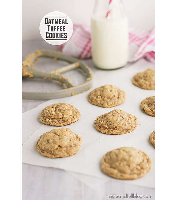 Oatmeal Toffee Cookies | www.tasteandtellblog.com #recipe #oatmeal #cookie #toffee