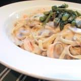 Shrimp Pasta in White Sauce | www.tasteandtellblog.com
