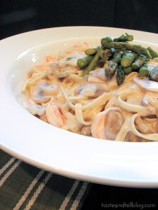 Shrimp Pasta in White Sauce | www.tasteandtellblog.com