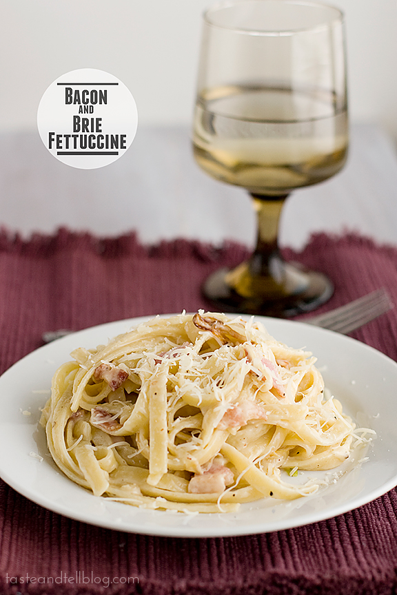 Bacon and Brie Fettuccine | www.tasteandtellblog.com