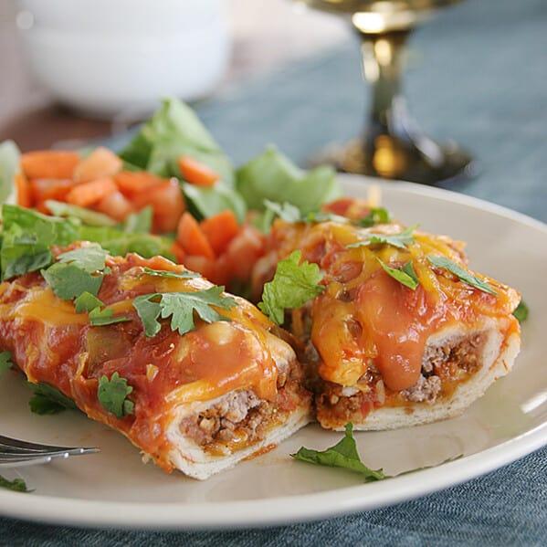 Cheddar Beef Enchiladas on Taste and Tell