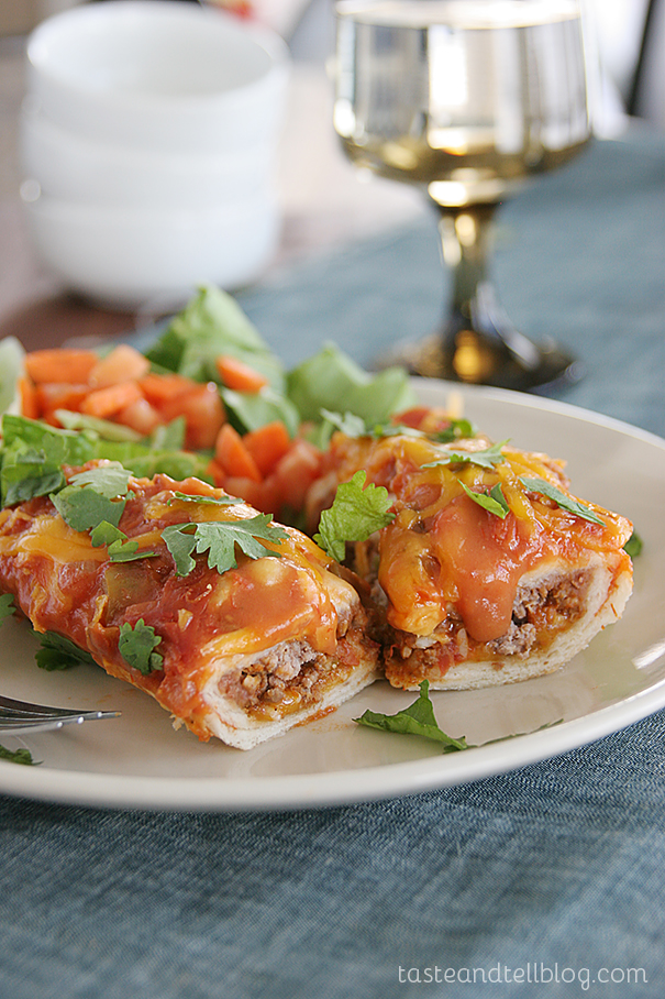 Cheddar Beef Enchiladas on Taste and Tell