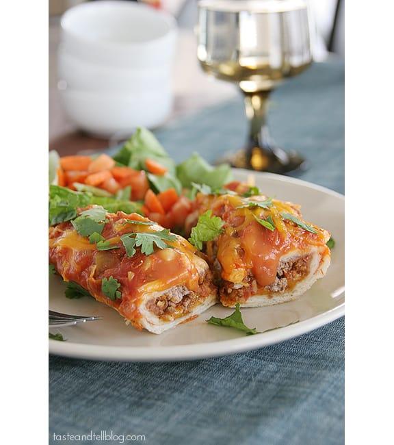 Cheddar Beef Enchiladas | www.tasteandtellblog.com