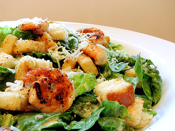 Creamy Caesar Salad with Spicy Croutons and Shrimp