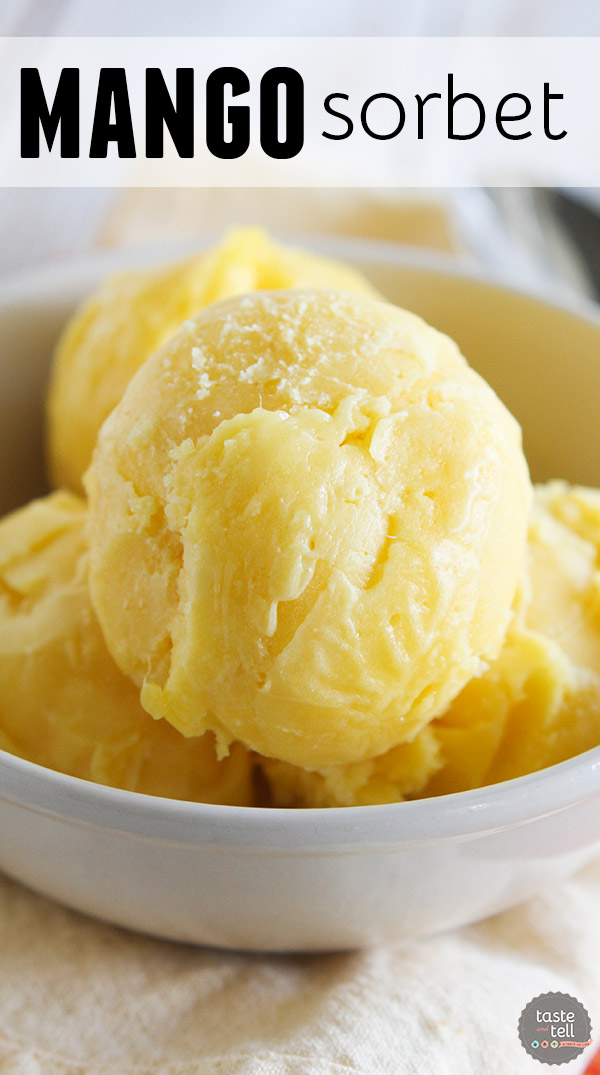 Fresh mangoes and lime juice come together to make a perfectly tropical Mango Sorbet.