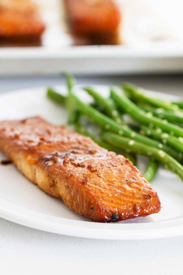 Soy Ginger Salmon on a plate