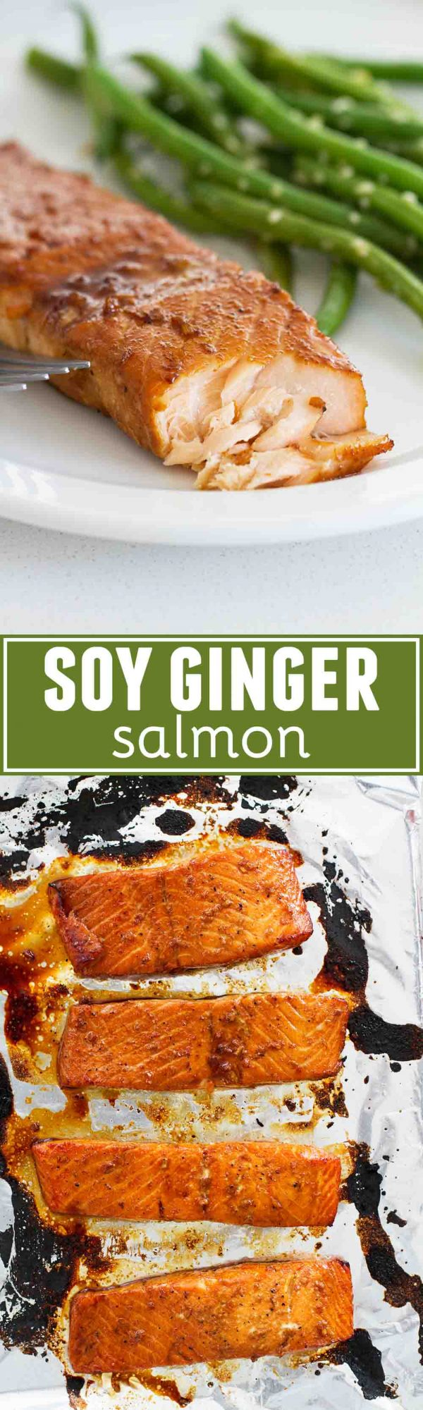 A simple recipe for Soy Ginger Salmon that is bursting with flavor. A few ingredients combine to make the most flavorful marinade. This is a salmon recipe anyone could make!