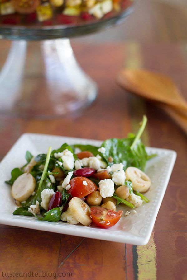 Recipe for Two Bean Salad with Blue Cheese and Hearts of Palm