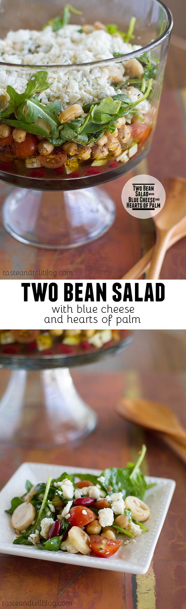 This Two Bean Salad with Blue Cheese and Hearts of Palm is a layered bean salad with beans, cucumbers, tomatoes, chickpeas, arugula, hearts of palm and blue cheese with a delicious vinaigrette.