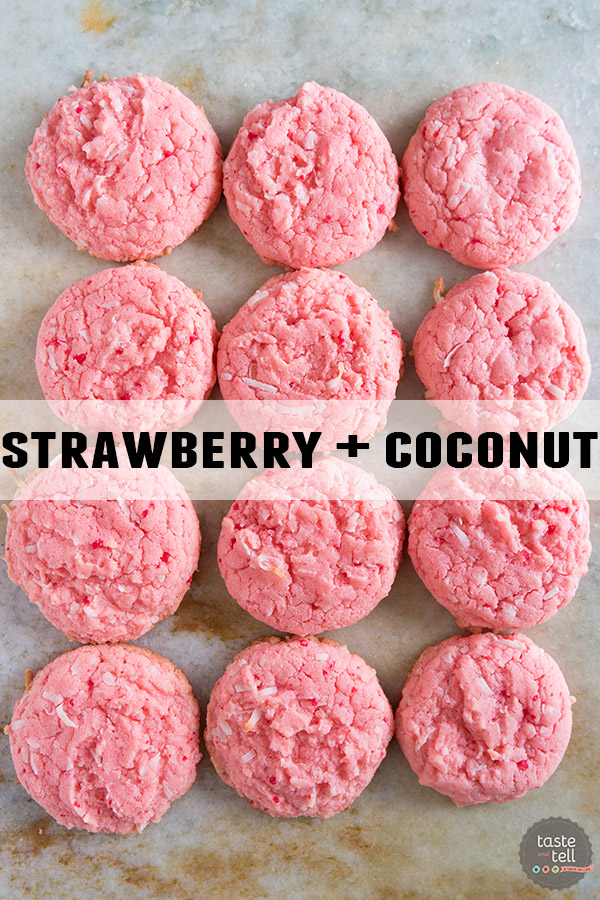 Cake Mix Cookies 12 Ways - Strawberry Cake Mix + Coconut