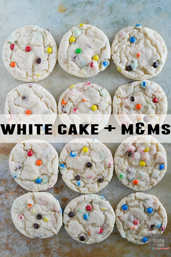 Cake Mix Cookies 12 Ways - White Cake Mix + M&Ms