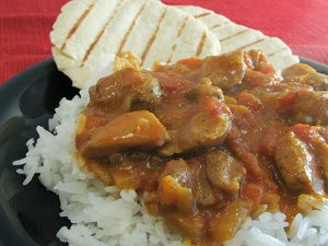 Curried Coconut Chicken and Naan | www.tasteandtellblog.com