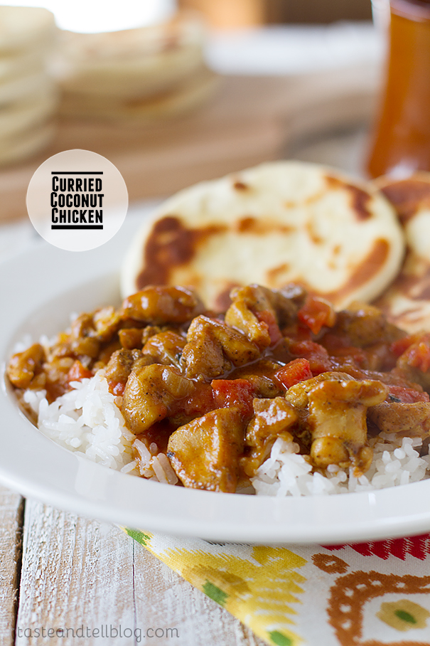 An easy chicken curry made with tomatoes and coconut milk.
