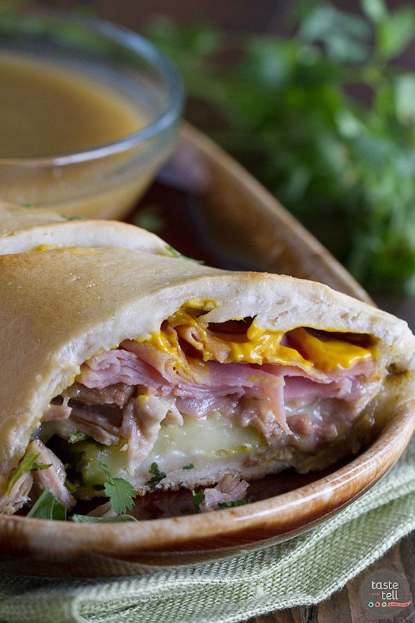 Shortcut Cuban Sandwiches with Green Chile au Jus