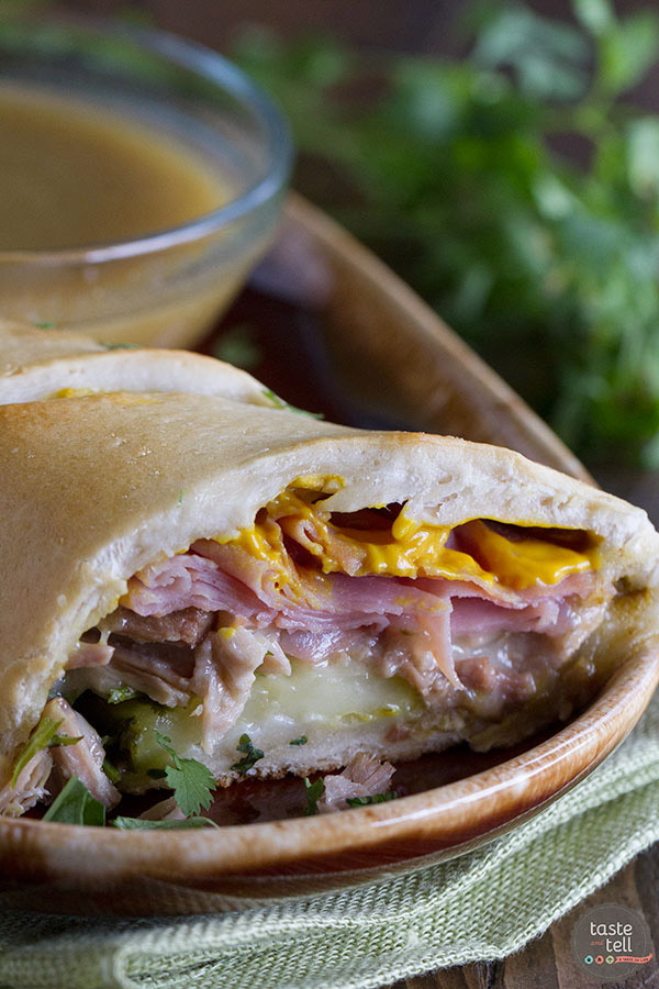 These Shortcut Cuban Sandwiches with Green Chile au Jus are a great way to get a dinner that is packed with flavor onto the table with very little effort!