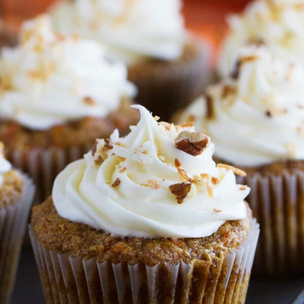 Simply the best, these Carrot Cake Cupcakes are filled with lots of carrots and coconut and are topped with a smooth and creamy cream cheese frosting.