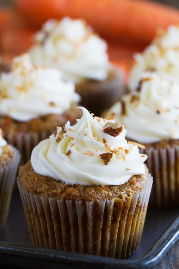 Carrot Cake Cupcakes on a baking tray