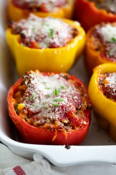 Bell Peppers Stuffed with Beef and Sausage