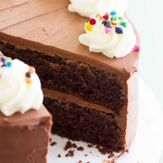 Full double chocolate cake - chocolate cake frosted with fudgy chocolate frosting