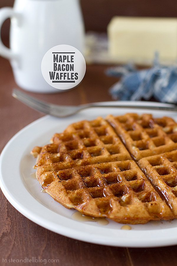 These Maple Bacon Waffles are infused with bacon pieces and maple syrup for a twist on a breakfast favorite.