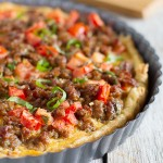 Savory Italian Tart - This quiche-like Italian Tart is filled with Italian sausage, tomatoes, eggs and cheese, all on top of a puff pastry crust. Perfect for breakfast, lunch or dinner!