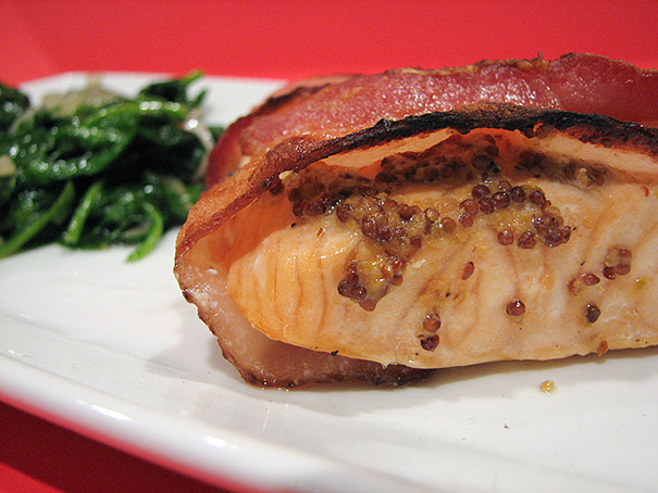 Bacon Wrapped Salmon with Wilted Spinach | www.tasteandtellblog.com