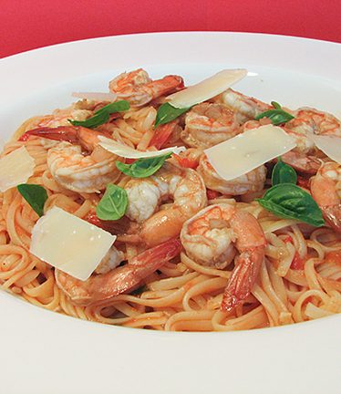 Linguine with Honeyed Tomato Sauce and Shrimp | www.tasteandtellblog.com