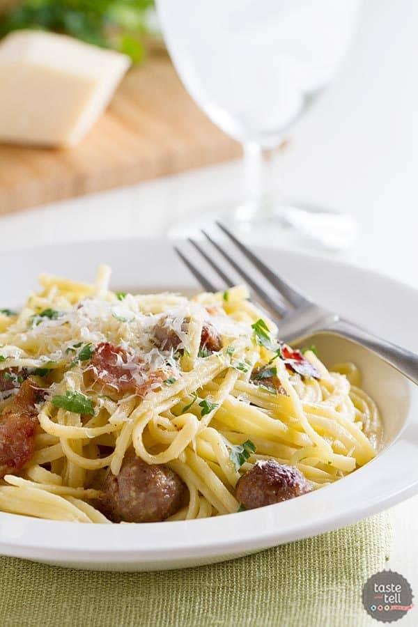 bowl of sausage carbonara pasta