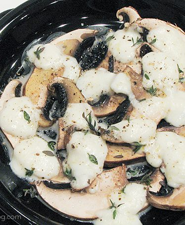 Sliced Mushrooms with Melted Mozzarella and Thyme | www.tasteandtellblog.com