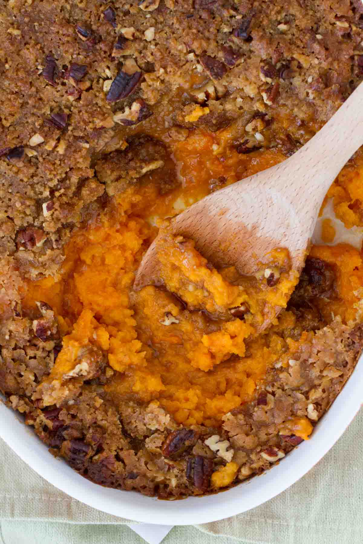 top view of sweet potato casserole with pecan topping