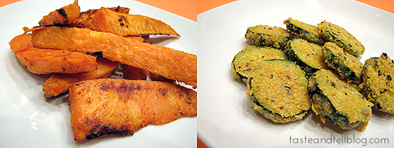 Oven Baked Sweet Potato Fries & Zucchini Coins | Taste and Tell