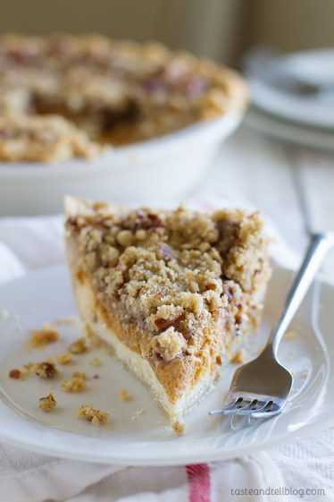 Pumpkin Cheesecake Pie Recipe - a cheesecake layer and a pumpkin pie layer topped with lots of crumb in the perfect holiday dessert.