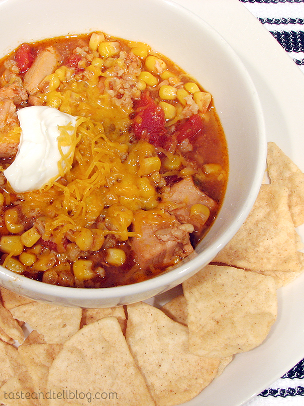 Mexicali Chicken and Corn Soup {Slow Cooker}