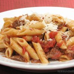 Pasta and Rustic Slow-Simmered Tomato Sauce with Meat {Cookbook of the Month Recipe}