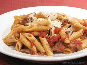 Pasta and Rustic Slow-Simmered Tomato Sauce with Meat