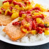 Salmon with Mango and Roasted Red Pepper