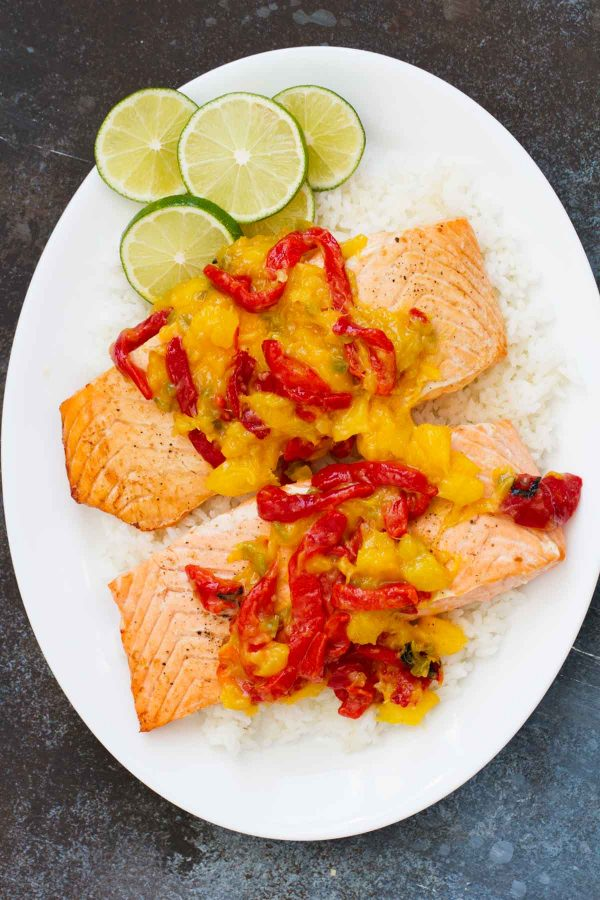 Easy Salmon Recipe with Mango and Roasted Red Pepper
