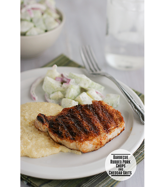 Barbecue-Rubbed Pork Chops & Cheddar Grits | www.tasteandtellblog.com #recipe #pork
