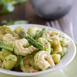 Easy enough for a weeknight meal, but impressive enough for company, this Gnocchi with Pesto, Shrimp and Asparagus is packed with flavor and done in less than 30 minutes!