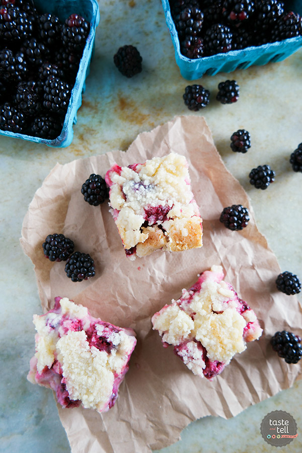 A shortbread base is topped with a creamy blackberry layer and then a streusel top in these Blackberry Pie Bars that you won't be able to keep your hands out of!