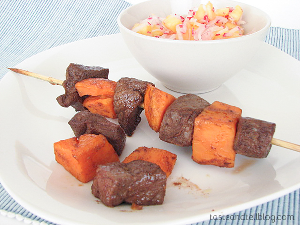 Jamaican Style Beef Kabobs with Sweet Potatoes