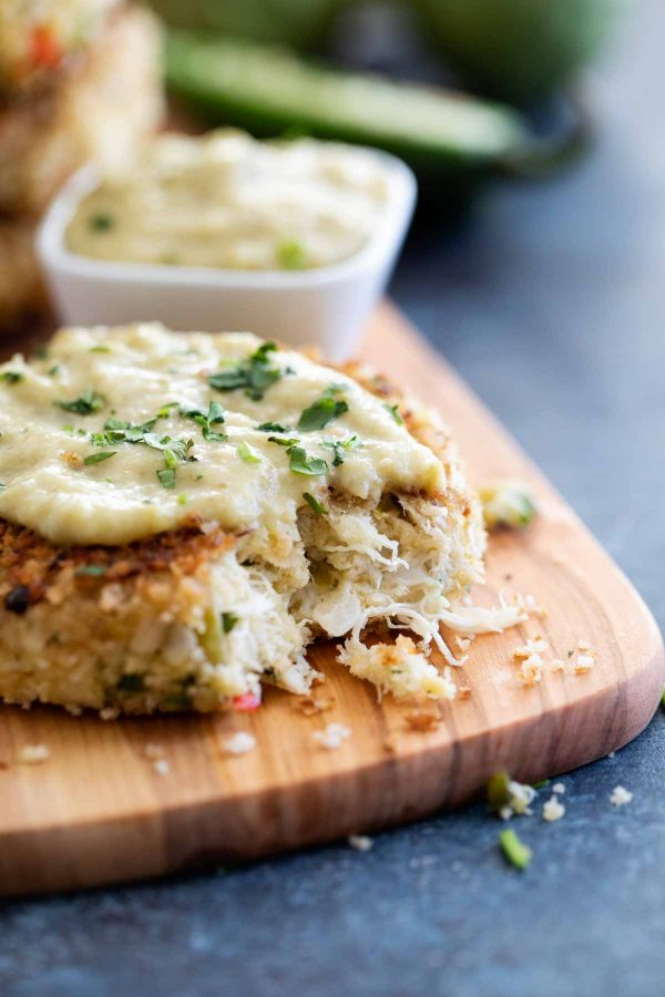 Inside Green Chile Crab Cakes