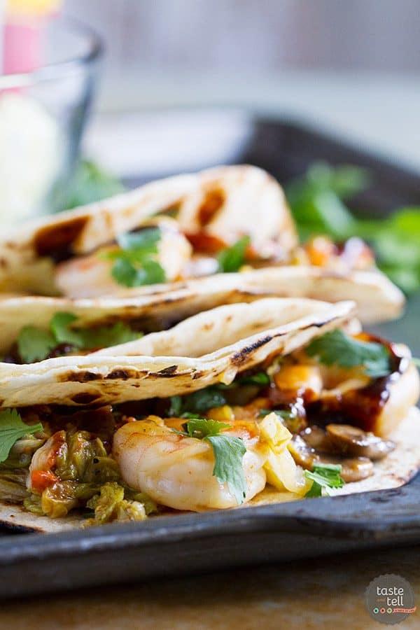 Moo Shu Shrimp Tacos