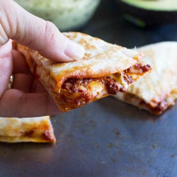 close up of chorizo and shrimp quesadillas