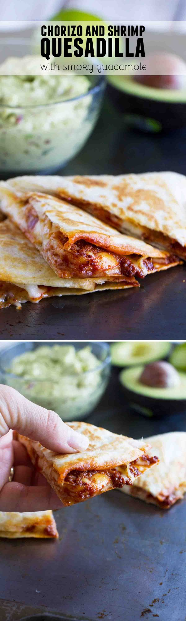 Get out of your quesadilla rut with these Chorizo and Shrimp Quesadillas with Smoky Guacamole. There is so much flavor and the guacamole takes it over the top!