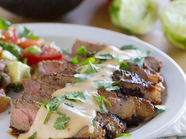 Steaks with Mexican Spices and Chile Con Queso on www.tasteandtellblog.com