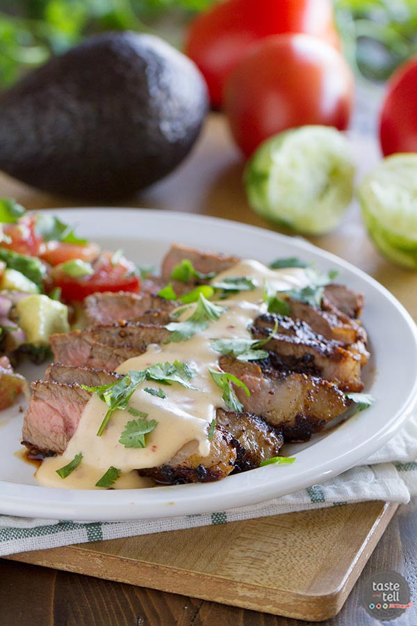 Steaks With Mexican Spices And Chile Con Queso An Easy Dinner