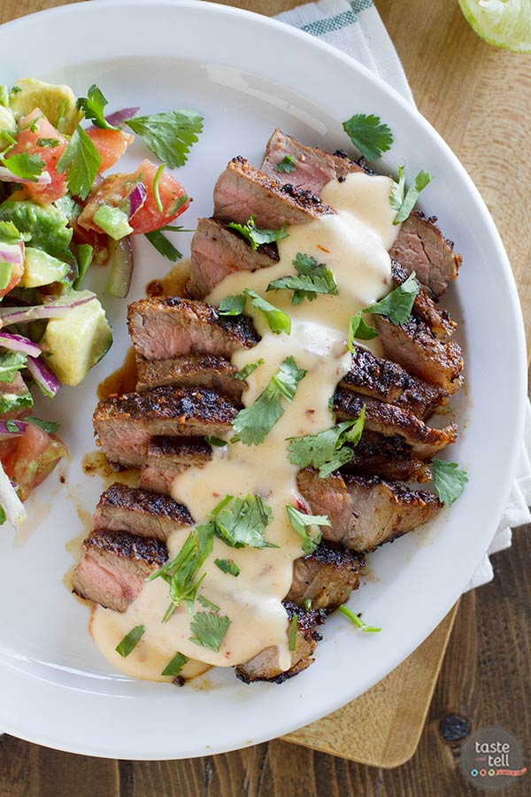 Steaks with Mexican Spices and Chile Con Queso on Taste and Tell
