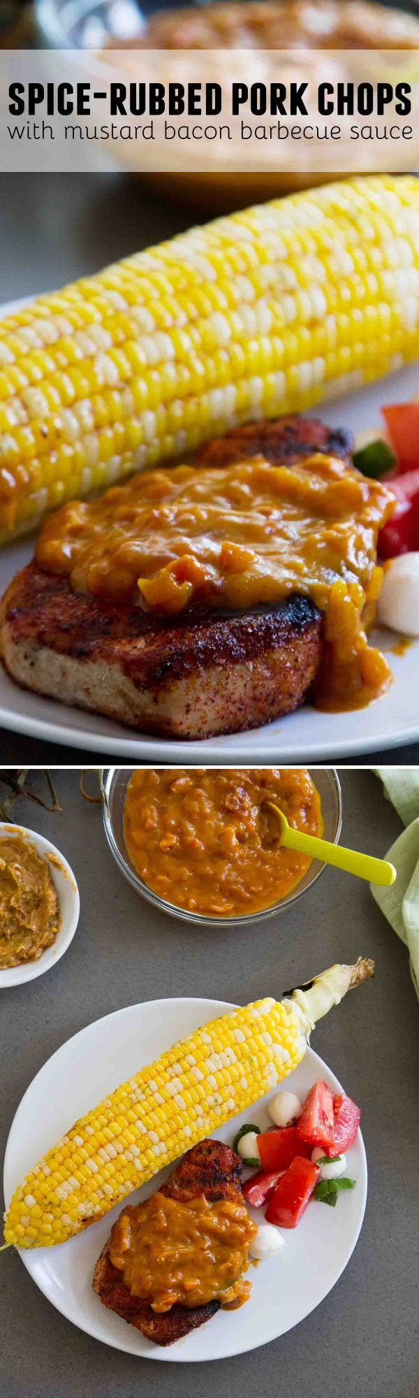 These Spice-Rubbed Pork Chops with Mustard Bacon Barbecue Sauce are pork chops with a punch! Boneless pork chops are enhanced with a simple rub, then served with an easy homemade barbecue sauce.
