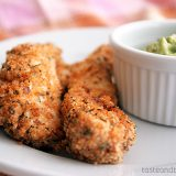 Chicken Fingers with Spicy Avocado Sauce on Taste and Tell